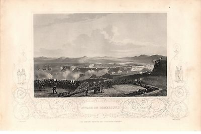 Antique Victorian Engraving Crimean War Vintage c1860 Attack  Bomarsund