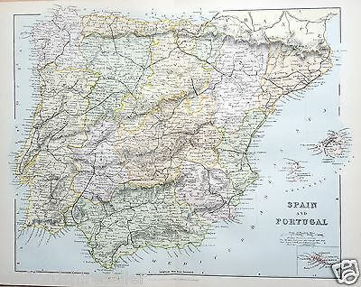 Antique Victorian Print c1880 Map Spain and Portugal