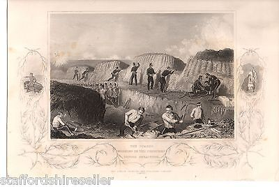 Antique Victorian Print Crimean War c1860 The Guards Working Trenches Sebastopol