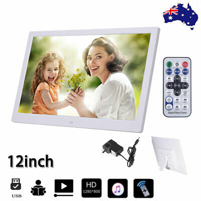 White 12'' HD 1080P LED Digital Photo Picture Frame Movie Player Remote Control