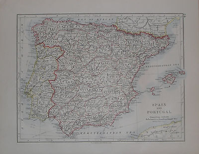 Vintage c1913 Map Spain and Portugal W & AK Johnston