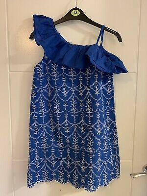 Girls M&S Blue & White Broderie Cotton Dress 9-10 Years