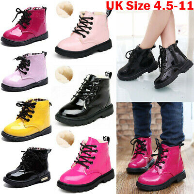 UK Kids Boys Girls Winter Warm Lace-Up Fur Lined Ankle Snow Boots Martin Shoes