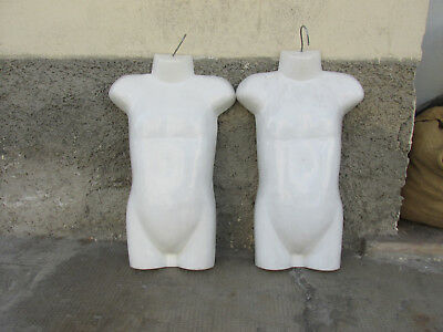 Pair Mannequin Bust Girl Child PVC Concave Height 54cm