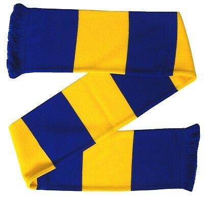 Mansfield Town Supporters Royal Blue and Gold Retro Bar Scarf - Made in the UK