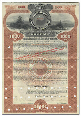Northern Pacific Railway Company Bond Certificate (Beauty, Limited Cancels)
