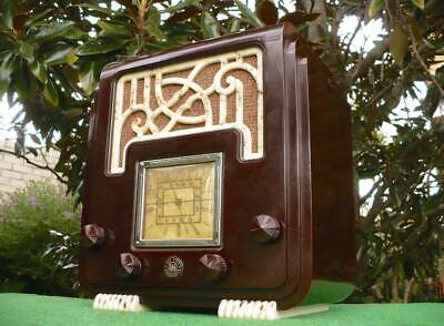 Superb 30's Vintage Art Deco AWA Fret & Foot Mottled Brown Bakelite Valve Radio
