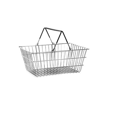 Black Shopping baskets wire two handle baskets storage 460x330x200mm 19 litre
