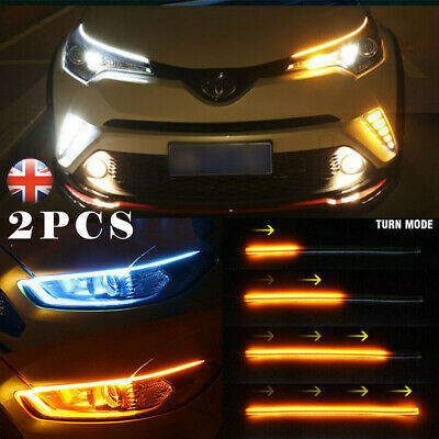 Two LED Strip Indicator Turn Signal Switchback DRL Daytime Running Lights UK L4U