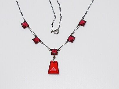Vintage dangle drop ruby red glass silver necklace Dainty Delicate Art Deco