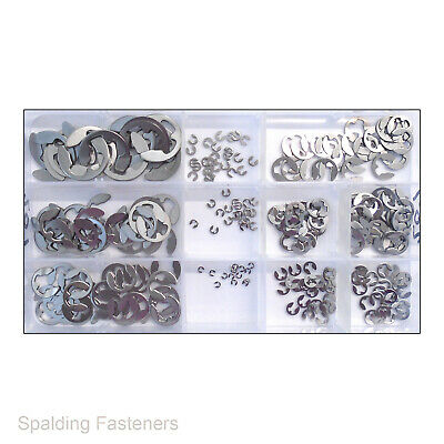 270 ASSORTED METRIC PUSH ON E CLIPS A2 STAINLESS STEEL 1.2mm - 8mm Sizes