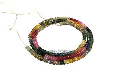 """40Cts Natural Multi Sapphire 3-3.5mm Rondelle Faceted Gemstone Beads 15""""inch"""