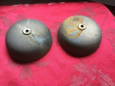 Rare Pair NOS  Cast Bronze Clock Bell Mantel Bracket Clock 3 5/16 Dia  1 1/4