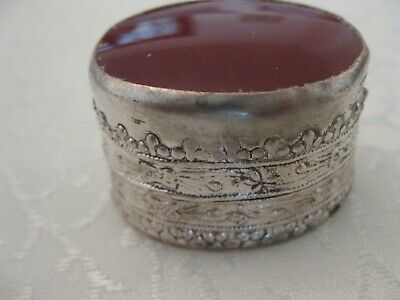 Victorian Antique Silver Plate With Agate On Top Table Snuff Or Pill Box C.1880