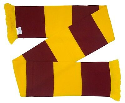 Motherwell Supporters Claret and Gold Retro Bar Scarf - Made in the UK