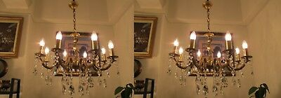 PAIR OF ANTIQUE Vintage French 8 Arms Crystal Chandelier Lamp Light 1940's 25 in