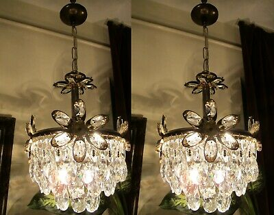 PAIR OF Antique VNT.FRENCH Basket style Crystal Chandelier Light Lamp 1960's 8in