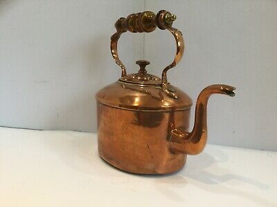 Copper Kettle Antique Victorian Large Glass Handle Dovetail Seam Tin Lined Oval