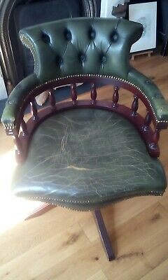 Green leather Chesterfield Captains Chair needs a little TLC