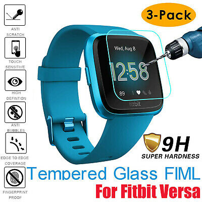 9H Clear Tempered Glass Film Screen Protector For Fitbit Versa Lite Watch 3-Pack