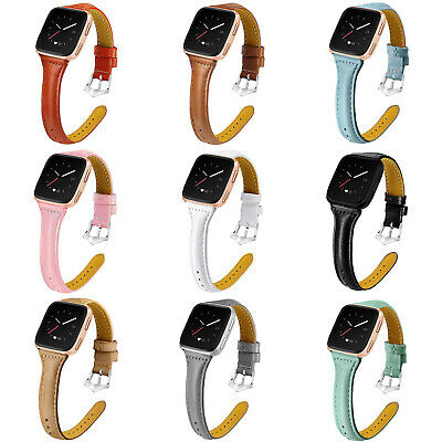 Replacement Genuine Leather Strap Breacelet Band For Fitbit Versa / Versa Lite