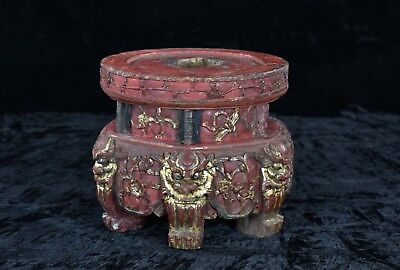 Antique Chinese Red & Gilt Wood Carving / Altar Stand w Foo Dog, Qing, 19th c