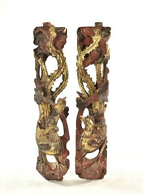 Pair of Antique Chinese Red & Gilded Wooden Carving of Phoenix