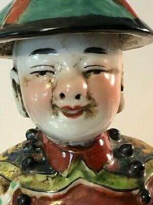 Reduced! RARE Antique Chinese Porcelian Statue of Young Man Hand made RARE