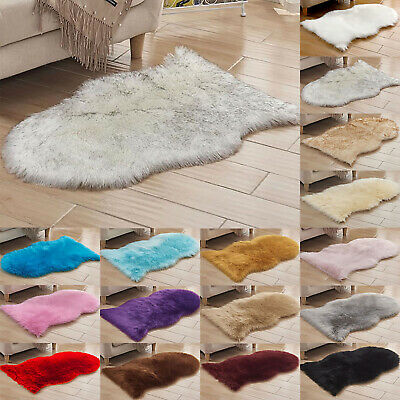 Soft Sheepskin Fluffy Skin Faux Fur Fake Carpets Washable Bedroom Mat Small Rugs