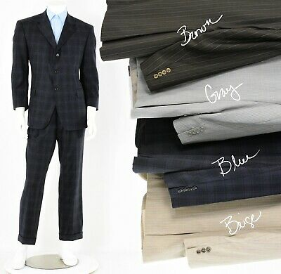 Mens Bachrach Wool Suit Blue Plaid Pin Striped in 44R 42R 44S Brown Gray Beige