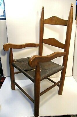 Antique Vintage Child's Country Rustic Primitive Chair Woven Seat Acorn Finials