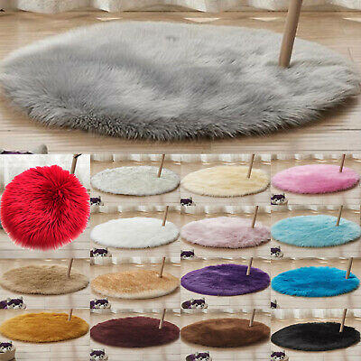 Round Soft Shaggy Area Rugs Windowsill Living Room Bedroom Anti-Skid Fluffy Mats