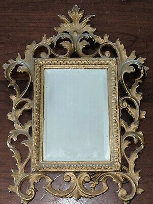 Antique Victorian Gilt Cast Iron Dresser Mirror Rococo Revival Easel Back