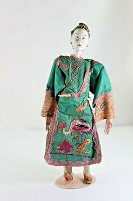 Antique Chinese Carved Wood Head Doll in Original Costume, Elaborate Head Dress