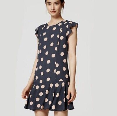 14 NWT Black Color Ann Taylor LOFT Dotted Ruffle Sleeve Dress Size 8