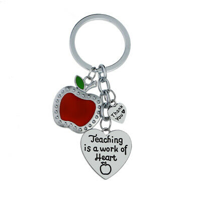 Key Ring Teaching Is A Work Of Heart Apple Charm Keyring Teachers Gifts Presents