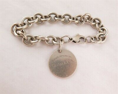 Tiffany & Co Sterling Silver Circle Charm Dangle Chunky Link Bracelet 7.5""