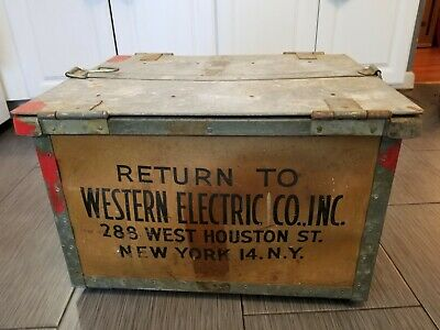 Vintage Antique Return To Western Electric Box Crate Telephone Repair New York