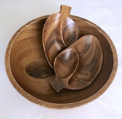 Vintage Footed Wood Bowl Wood Forms Leaf Shaped Dishes Trays Mid Century