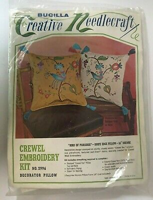BUCILLA Vintage Pillow CREWEL Embroidery KIT Bird Of Paradise Floral NEW #2996