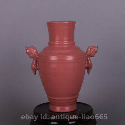 "6.7"" Chinese Ru Kiln Ceramics Pink Glaze Dragon Ear Flower Vase Porcelain Bottle"