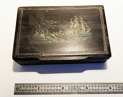 ANTIQUE ORIGINAL c1870 SAILORS WHALING SCENE LACQUER SNUFF BOX 4Lx2.50Wx1H EX