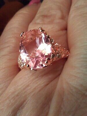 Radiant. Pink  Tourmaline Solitaire. 14Kt Rose Gold  925Ss Ring Sz 9. 8Cts