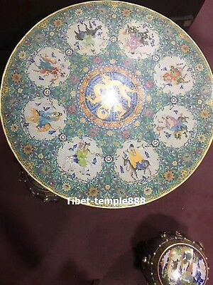 95 CM Chinese Bronze cloisonne 24K Gold Dragon Chairs Eight Immortals table desk