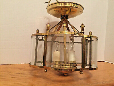 Vintage Heavy Polished Brass 3 Light Ceiling Lantern with 6 Beveled Glass Panels
