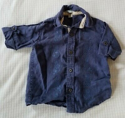 Janie and Jack toddler boy Navy embroidered tropical button down shirt 2T EUC!!