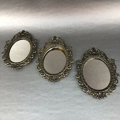 """Vintage Italy Antique Brass Set Of 3- 5"""" Oval Mirror Picture Frame Italy Rococo"""