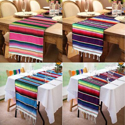 10x Long Mexican Serape Fringe Table Runner Wedding Party Table Decor 84x14''