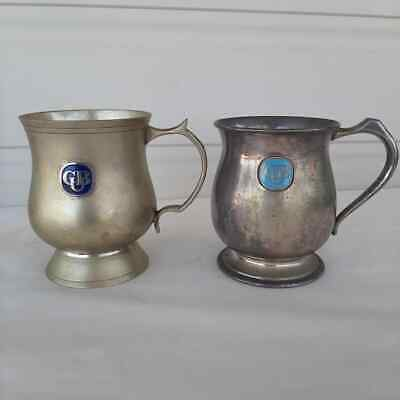 Vintage Carlton United Brewery Metal Stein Cup Lot of 2 Bar Beer