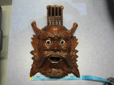 Bali Indonesian Wooden Carved Mask Wall Hanging 26cm